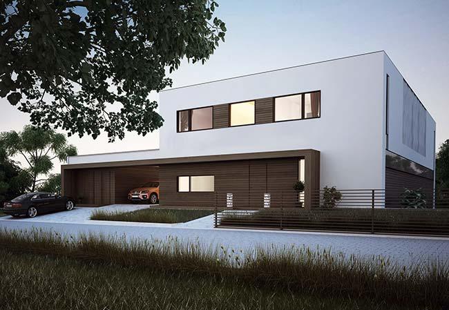 Casa branca com detalhes em marrom e, claro, telhado embutido para completar a arquitetura
