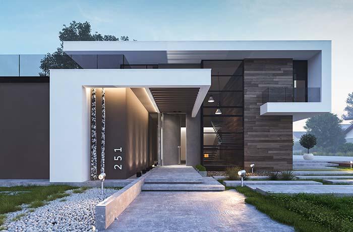 Formas, volume e telhado embutido
