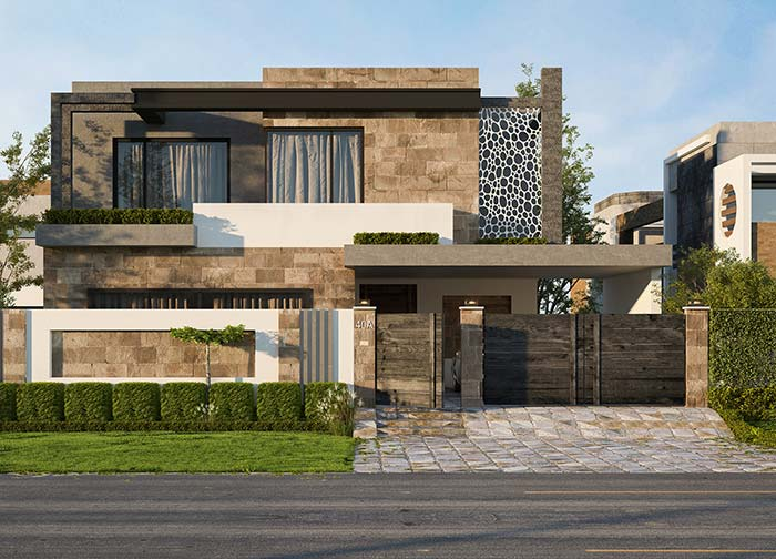 Fachada rústica com design moderno; o telhado embutido ajuda a criar essa referência de estilo