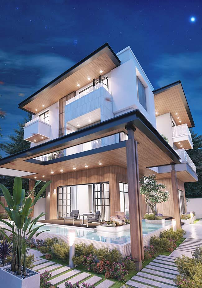A fachada cheia de recortes ganhou um aspecto mais suave com o telhado embutido