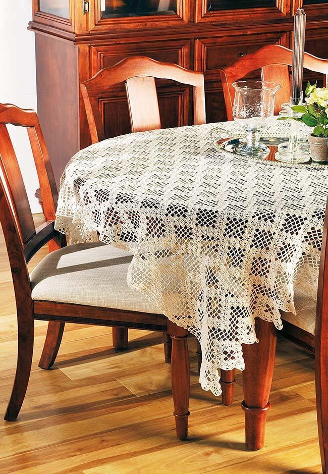 toalha de mesa de crochê com textura de renda