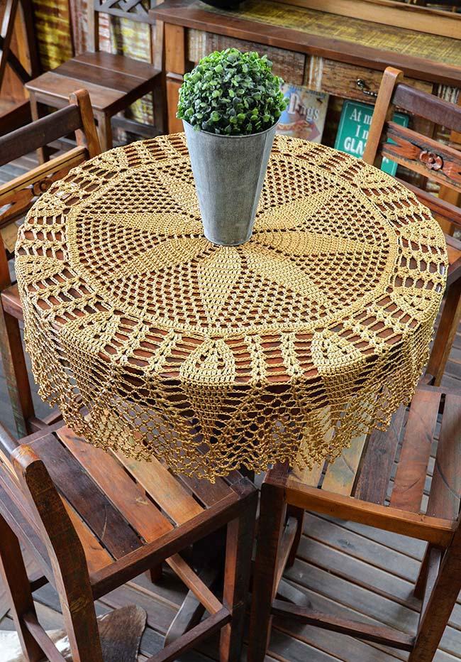 Toalha de mesa de crochê redonda