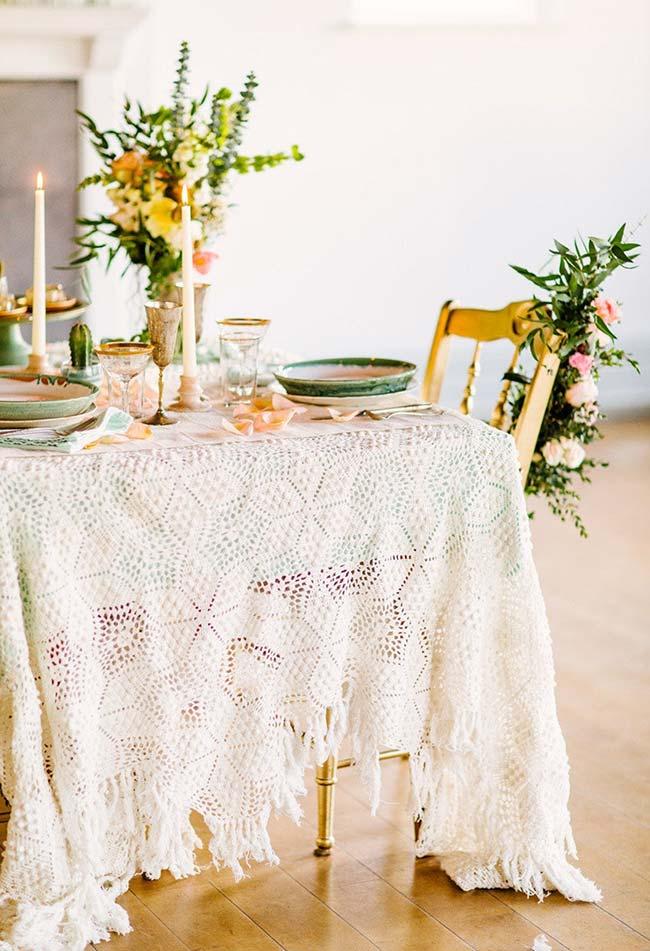 Toalha de mesa de crochê para jantar romântico
