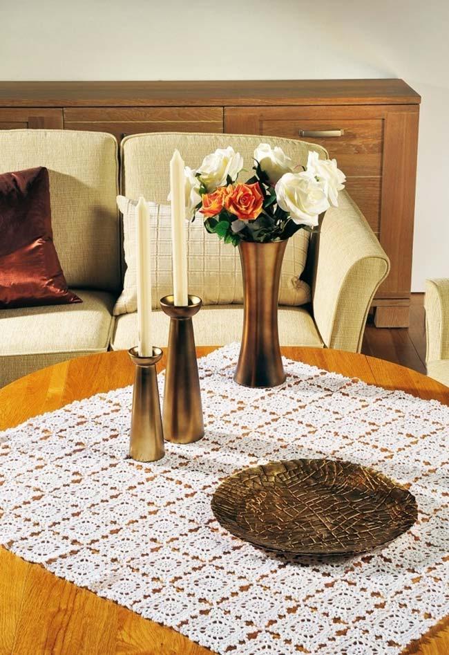 Toalha de mesa de crochê quadrada