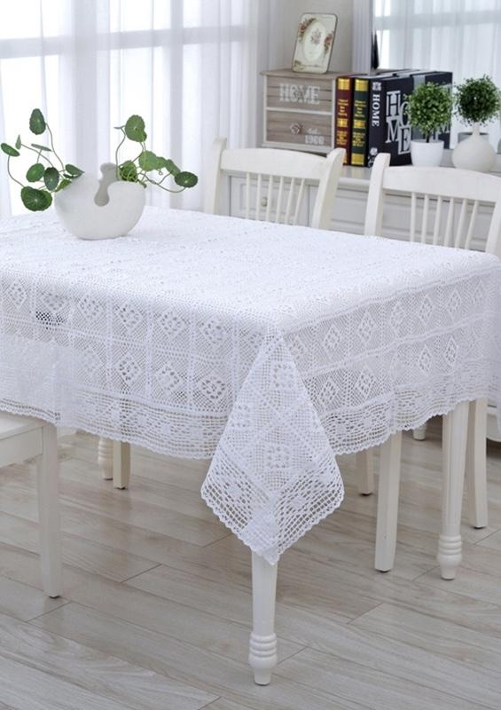 Toalha de mesa de crochê em linha fina e clara