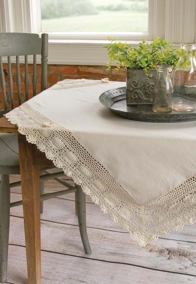 Outra ideia de finalização em crochê para sua toalha de tecido
