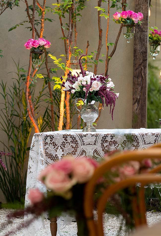 Toalha de mesa de crochê com flores para ambientes internos e externos