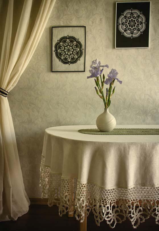 Outra barra de acabamento para toalha de mesa de tecido