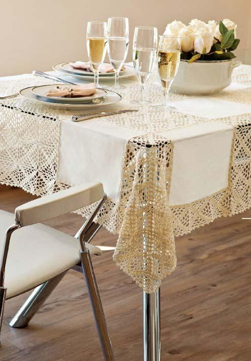 Toalha de mesa de crochê bege para ambientes tranquilos e super delicados