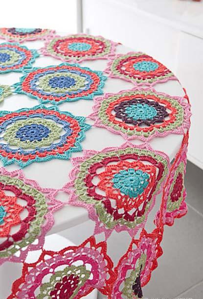 Toalha de mesa de crochê mandalas