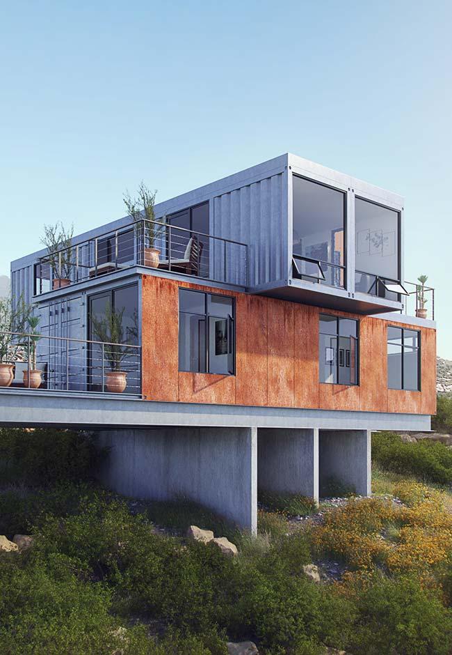 Casa container com dois pavimentos em terreno irregular