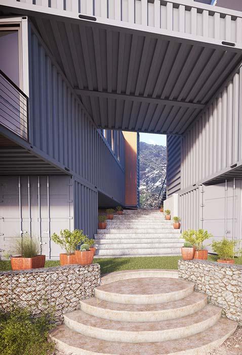 Se inspire na entrada dessa casa gigantesca que trabalha a estrutura dos containers de diversas formas