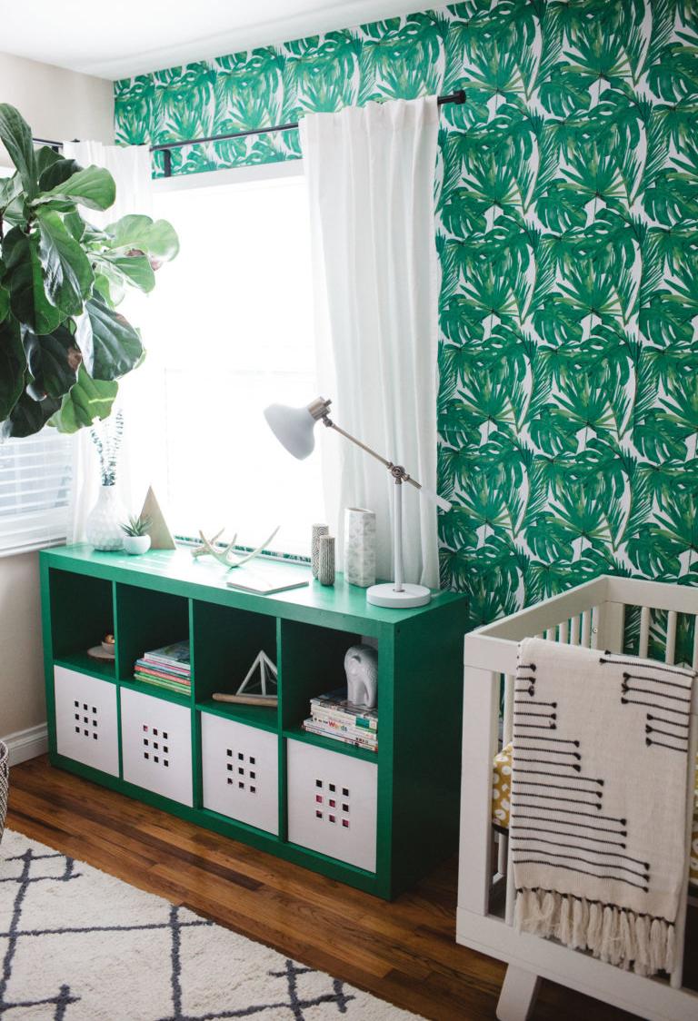 Se inspire nas plantinhas da natureza para ousar com um tom mais escuro de verde no quarto do bebê!