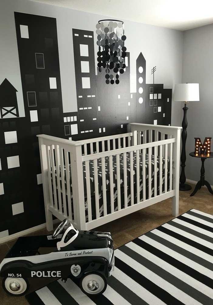 Inspiração em P&B em quarto temático: decoração mais ousada e inspirada nos grandes centros urbanos