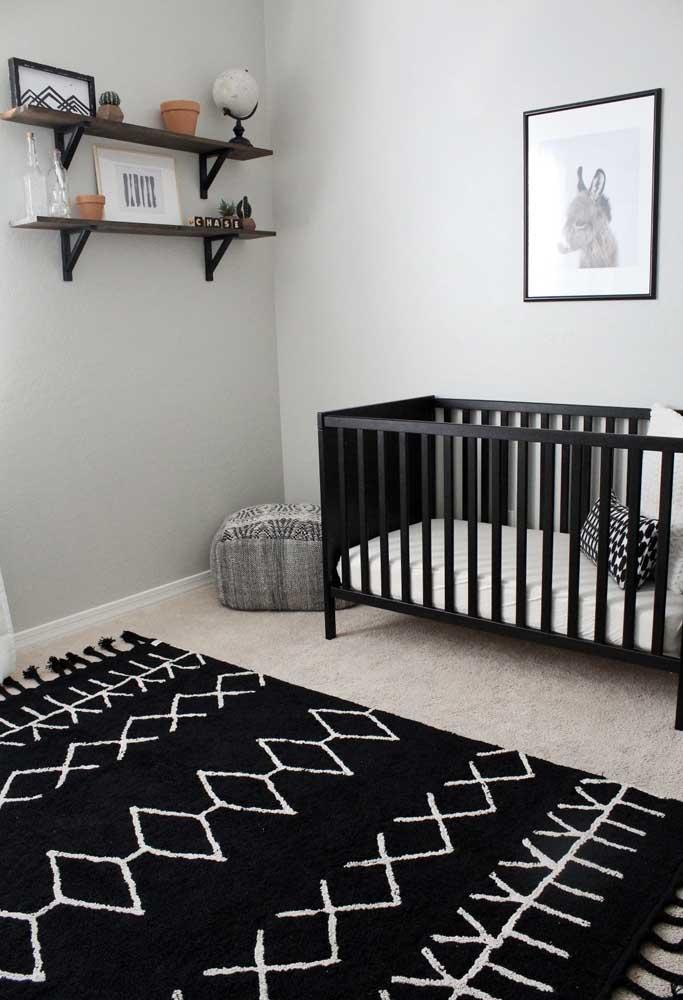 Quarto de bebê preto num estilo mais minimalista