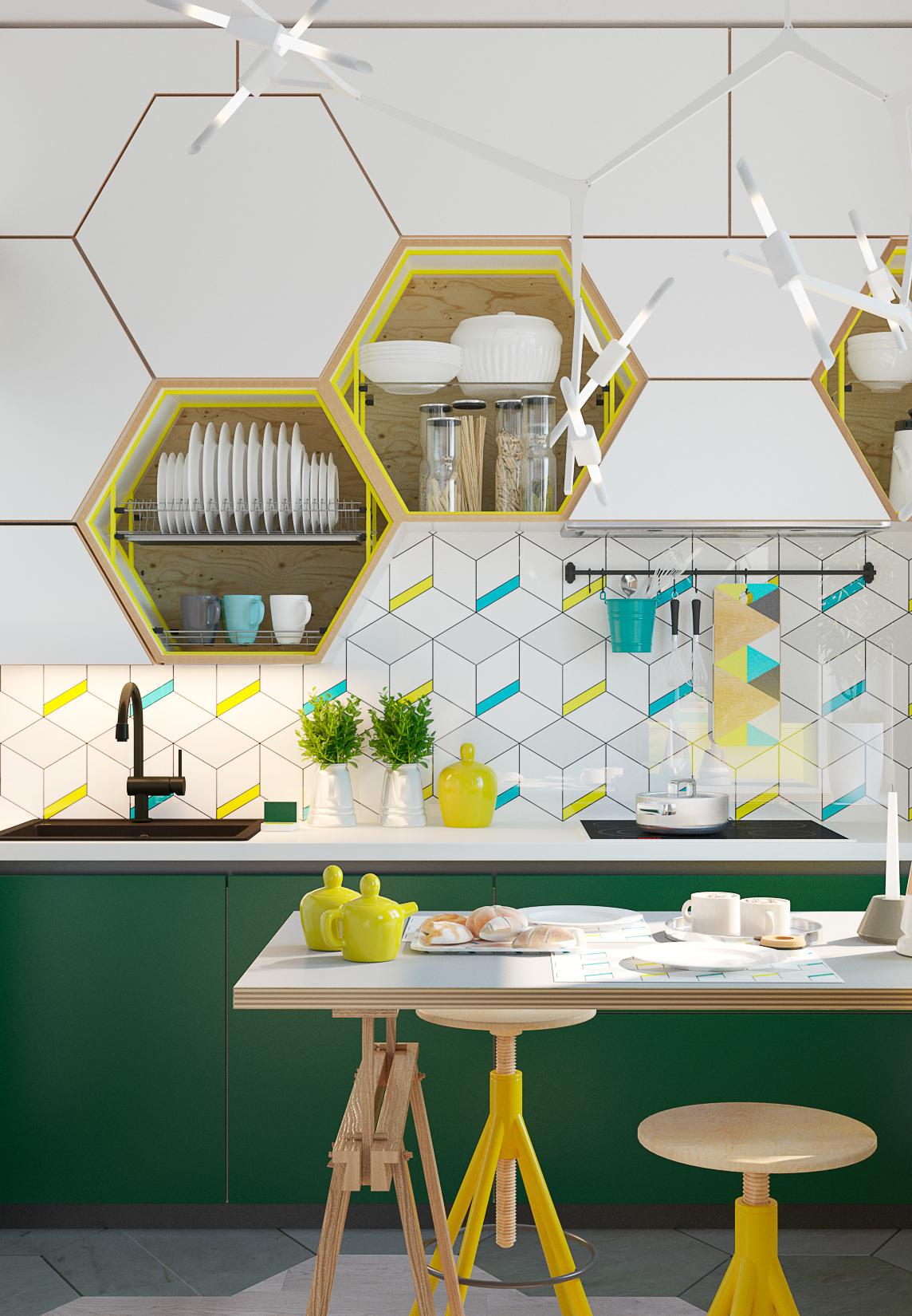 Traga também as cores mais chamativas para a sua composição: o amarelo e o azul turquesa vibram na composição com o branco e verde bandeira