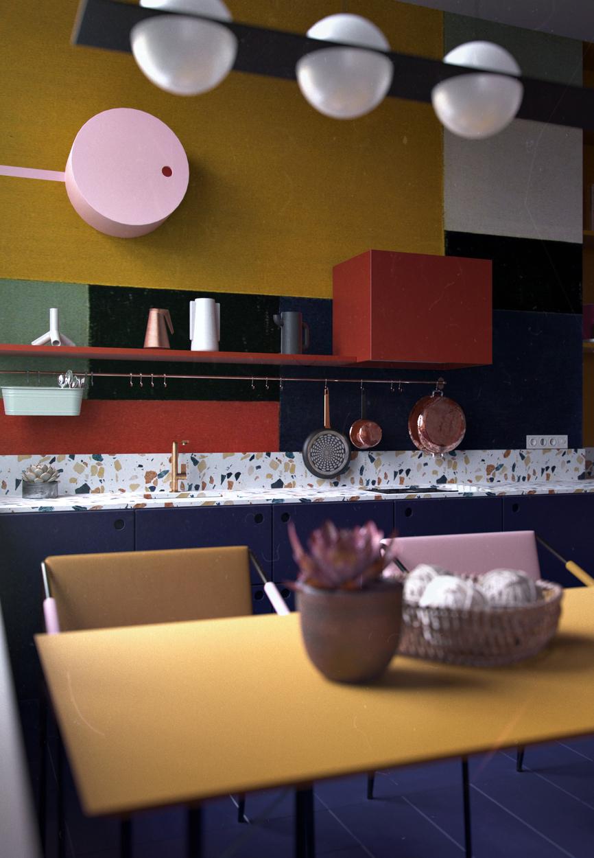 Se inspire em tons mais escuros de amarelo, azul e vermelho, as cores primárias, como nesta cozinha contemporânea