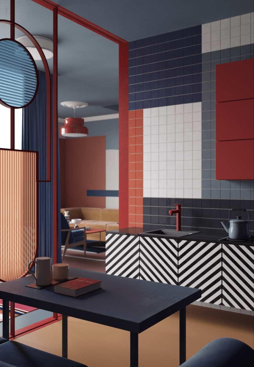 Padrões e muitas cores numa paleta pré-determinada e em diálogo com os outros ambientes da casa