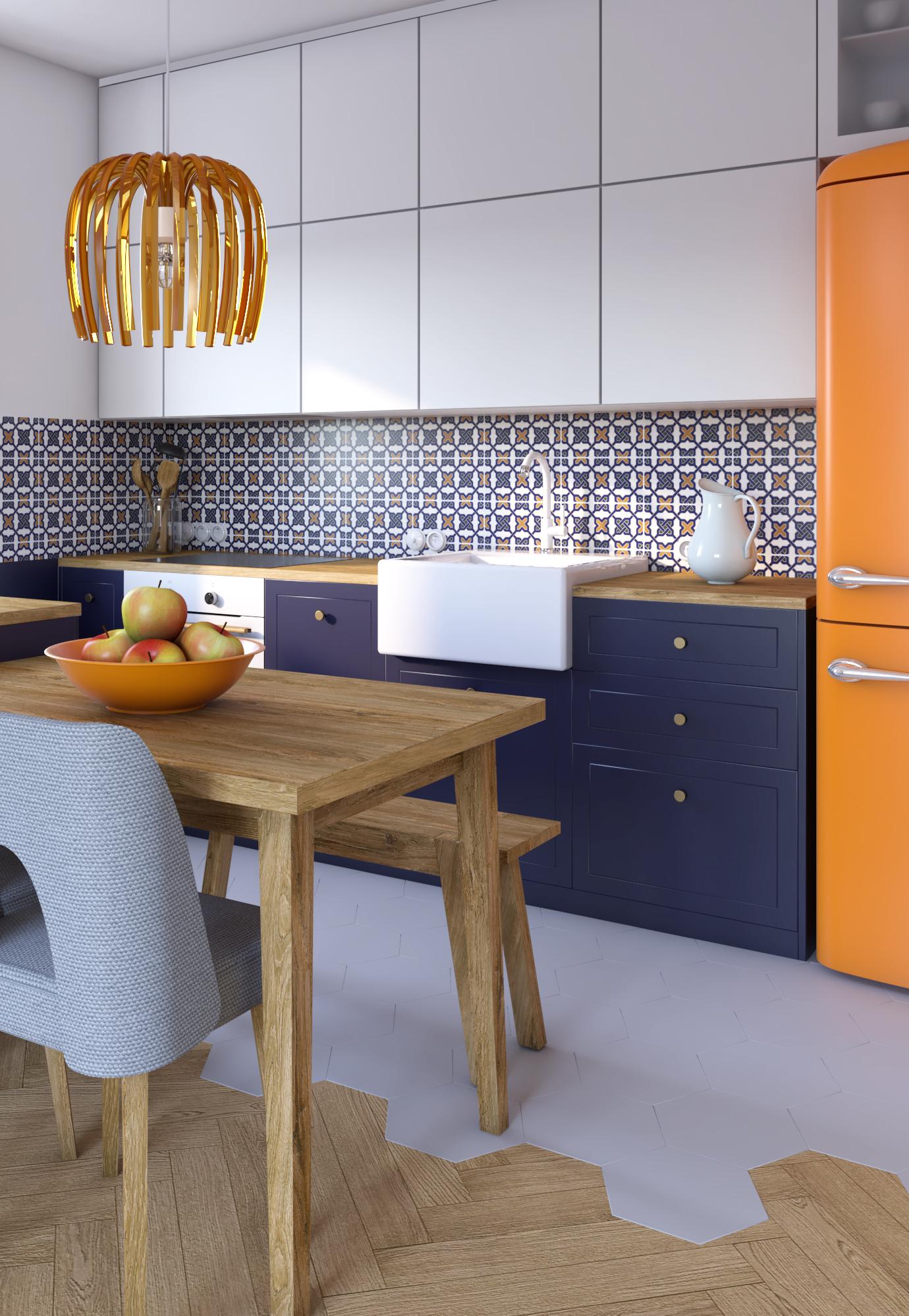 Azul marinho e laranja chamando a atenção nesta cozinha colorida contemporânea