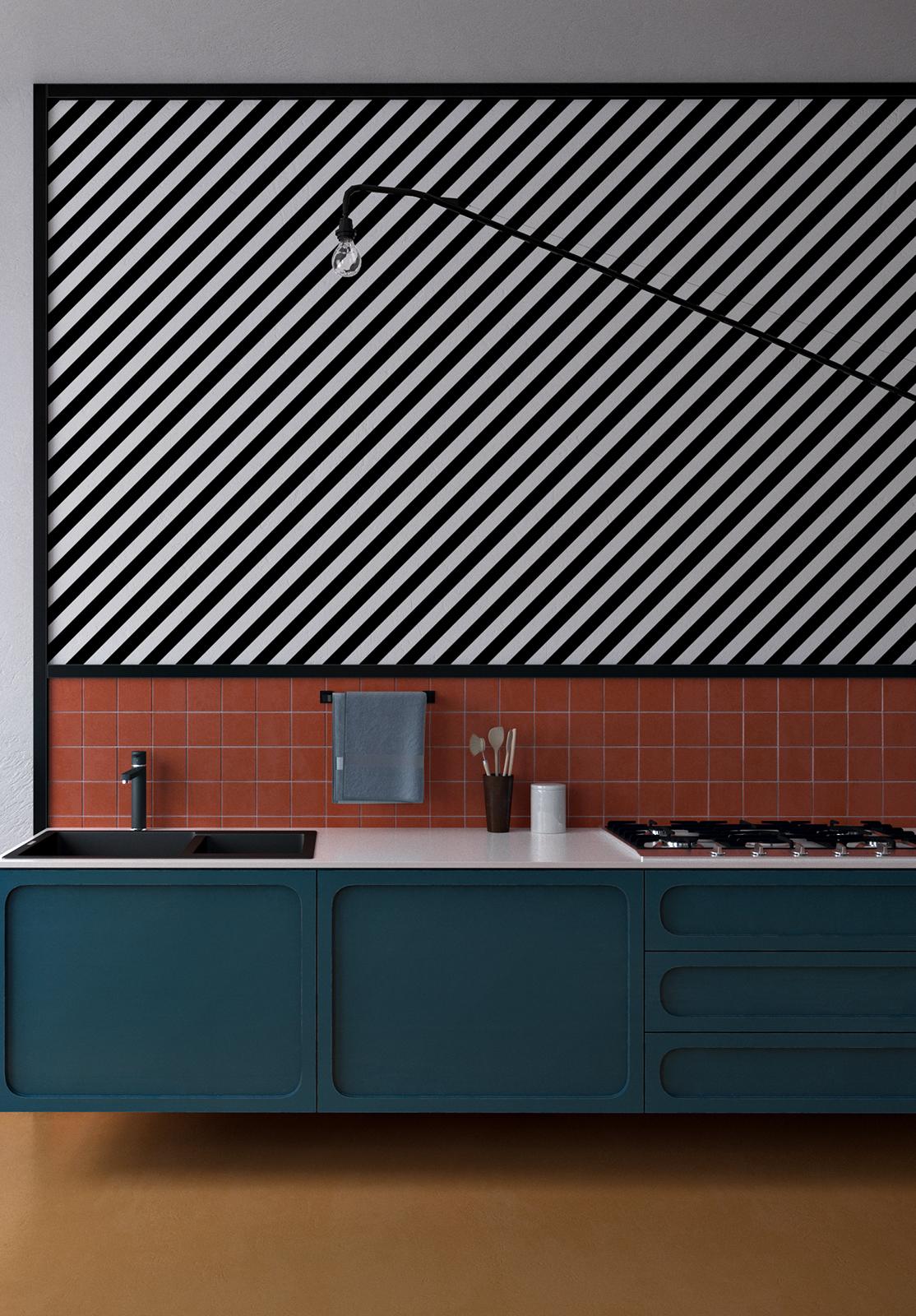 Destaque para os padrões e texturas da parede neste projeto contemporâneo de cozinha colorida