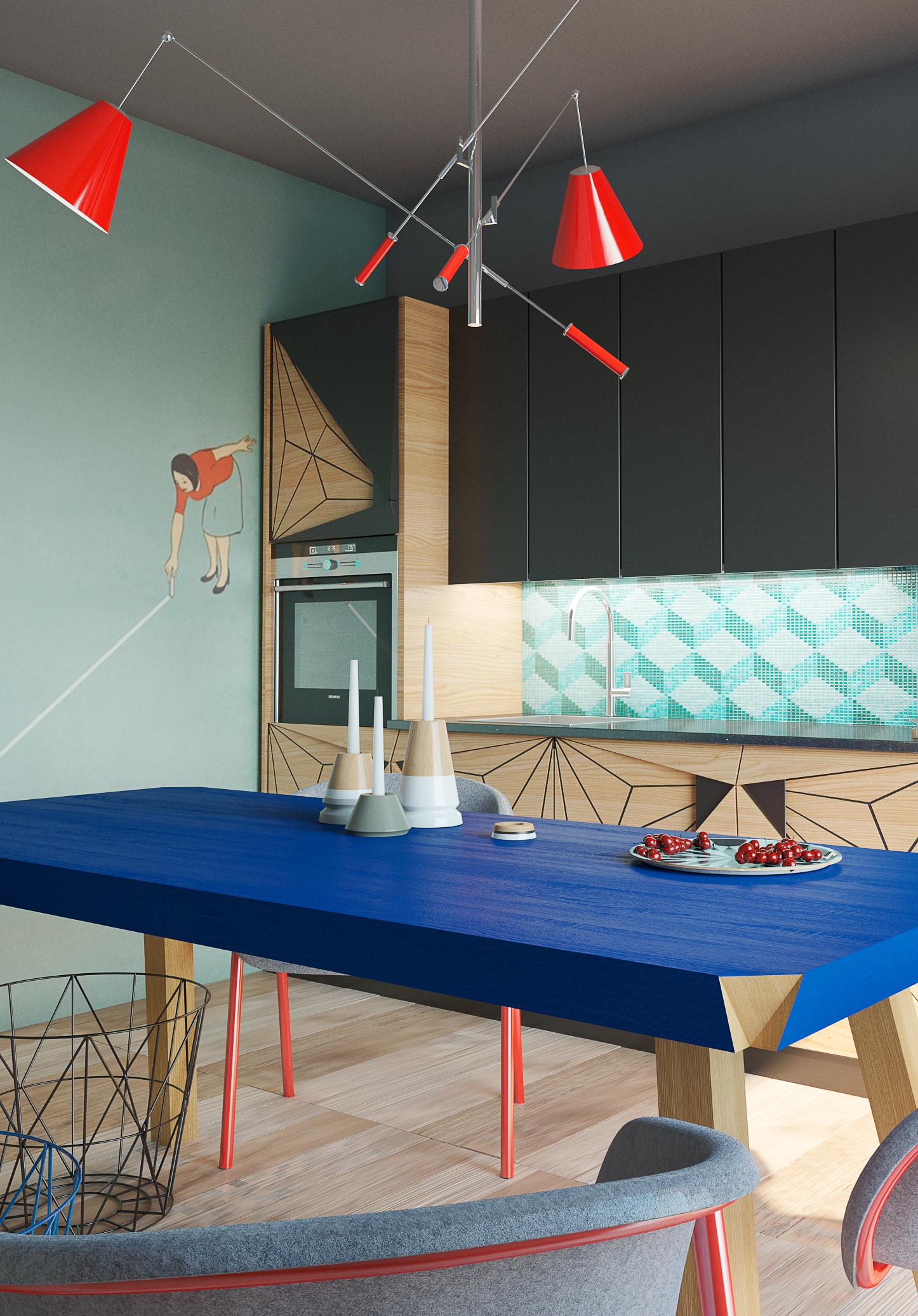 Ambiente de cozinha colorida e super criativa nas opções de design e composição