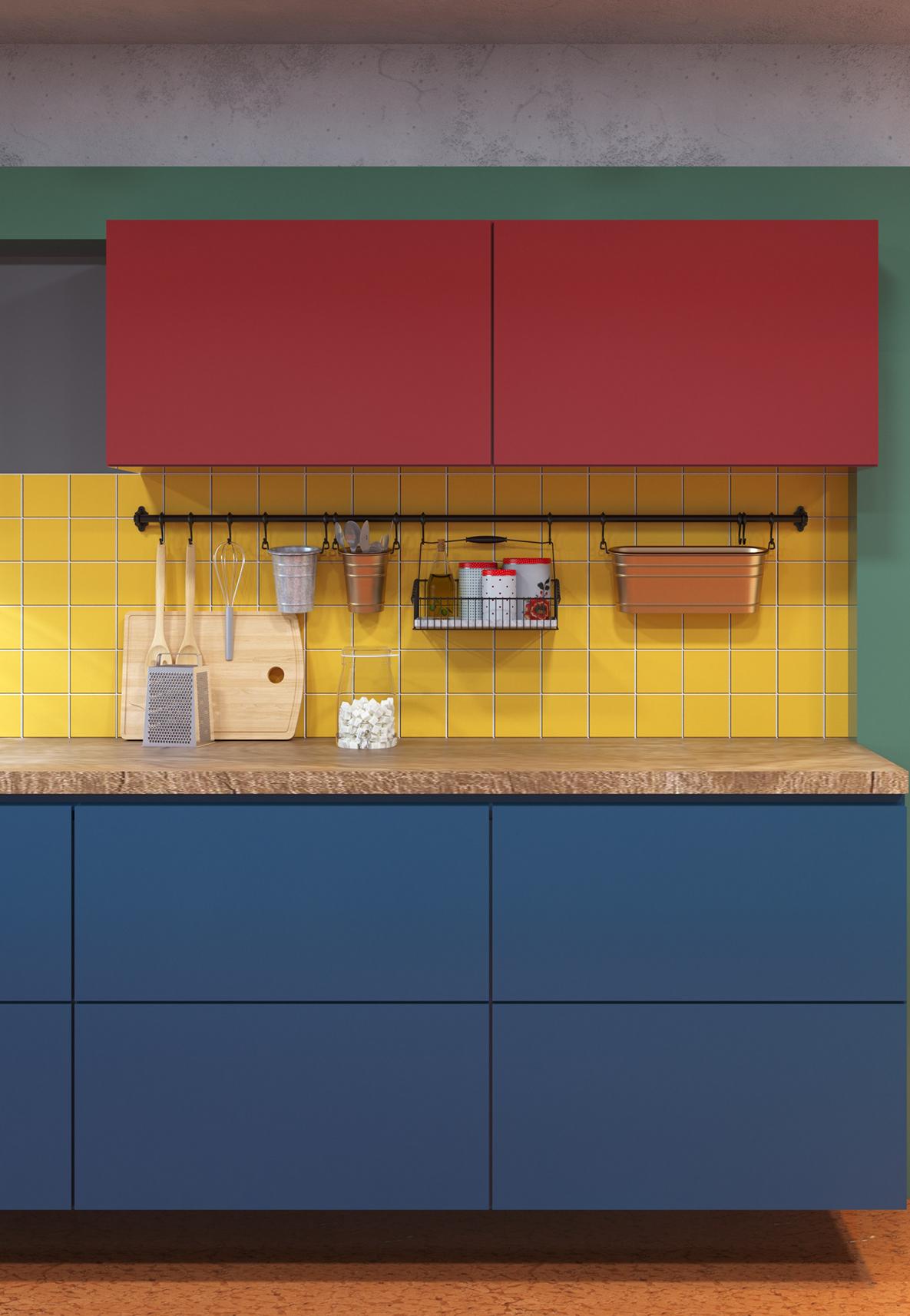 Outra ideia de composição em cores primárias nos armários e parede desta cozinha