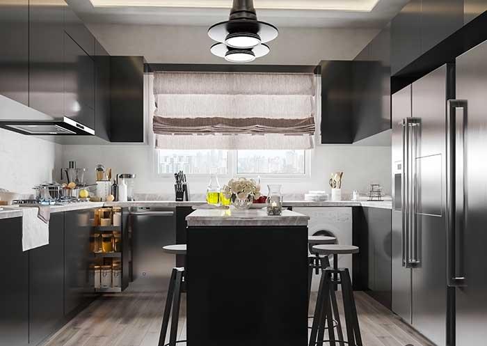 Cozinha com ilha moderna e industrial