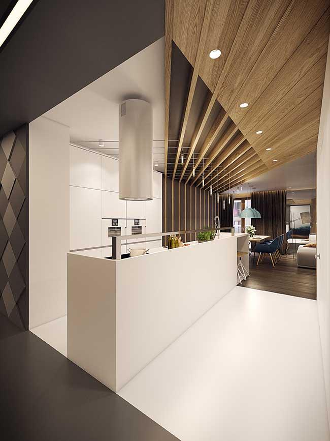 Ilha de cozinha moderna com tamanho diferenciado: estreita e alongada