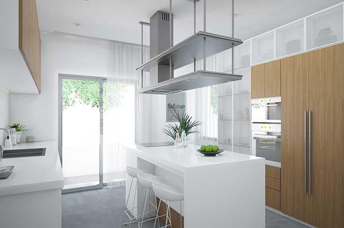 Ilha de cozinha branca é sempre bem vinda em projetos de estilo clean e moderno