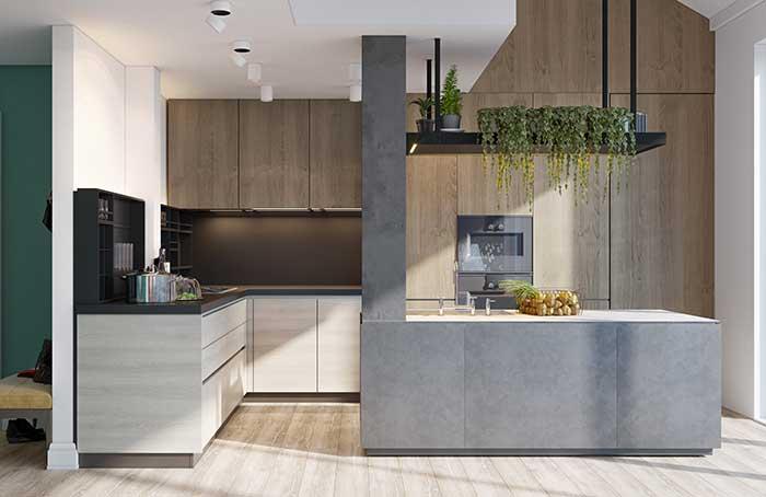 Ilha de cozinha cinza: modelo simples, prático e funcional