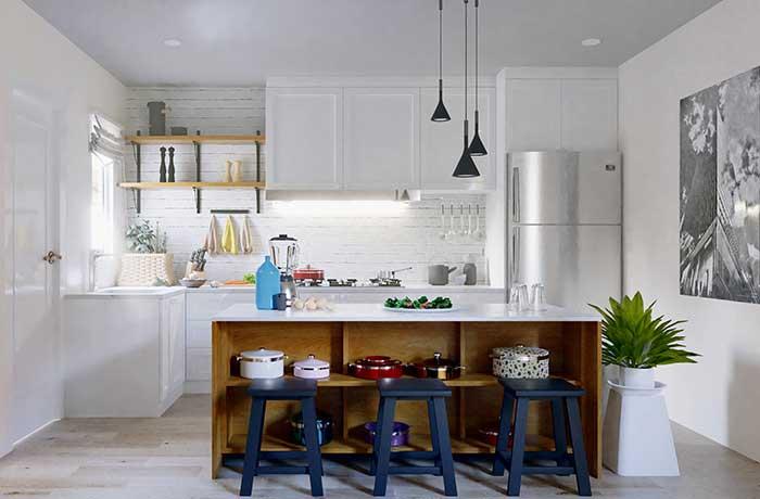 Ilha de cozinha com nichos: decore com funcionalidade