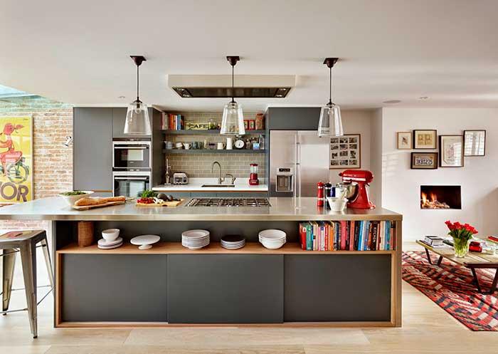 Projeto moderno e despojado de cozinha com ilha