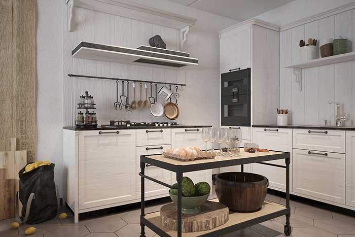 """Uma ilha """"improvisada"""": nessa cozinha, o carrinho ganhou uma nova e criativa função"""