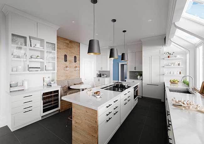 Ilha de cozinha com cooktop e forno embutido; de um lado fica os armários e de outro a bancada