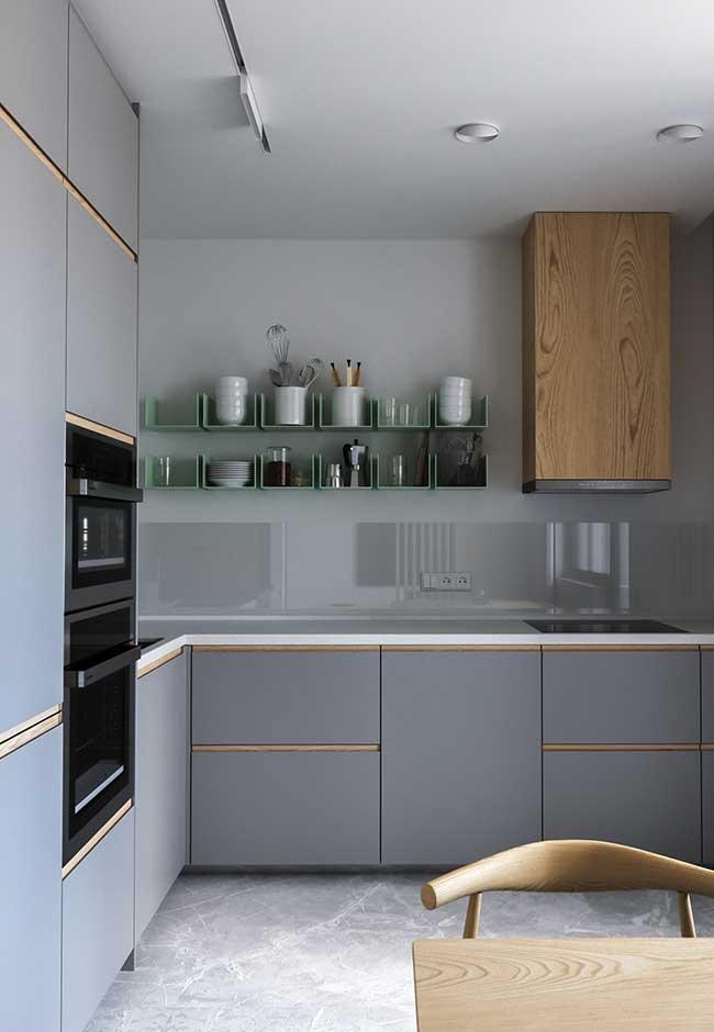 Cozinhas modernas planejadas em cinza