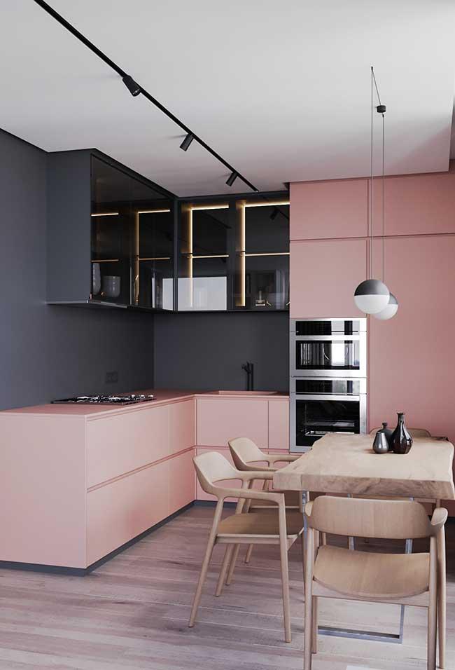 Cozinha moderna com rosa millenial