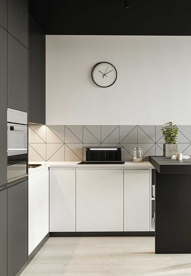 Cozinha moderna em P&B