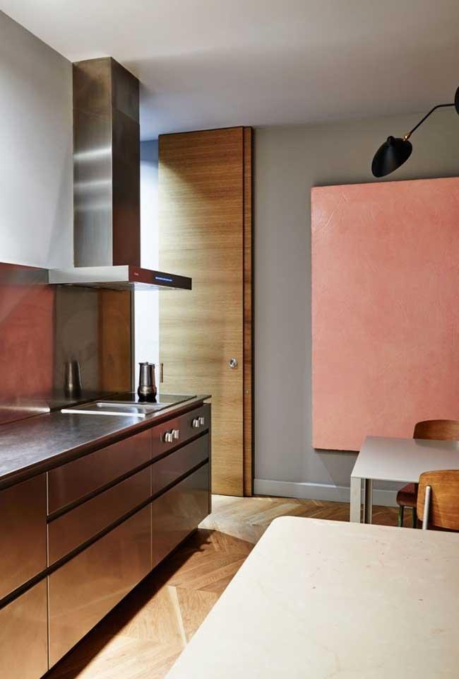 Cozinha moderna com uma combinação de cores com o aço inox