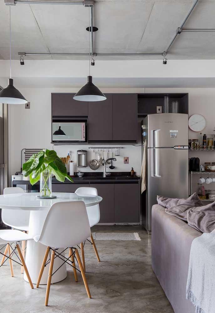 Cozinha pequena para apartamentos conjugados tipo loft