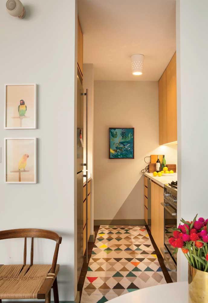Ambiente de cozinha pequena, mas super aconchegante