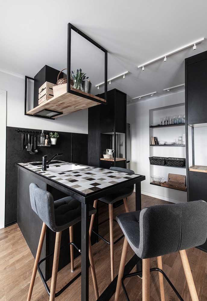 Mais uma ideia de cozinha pequena em P&B para te inspirar nos detalhes