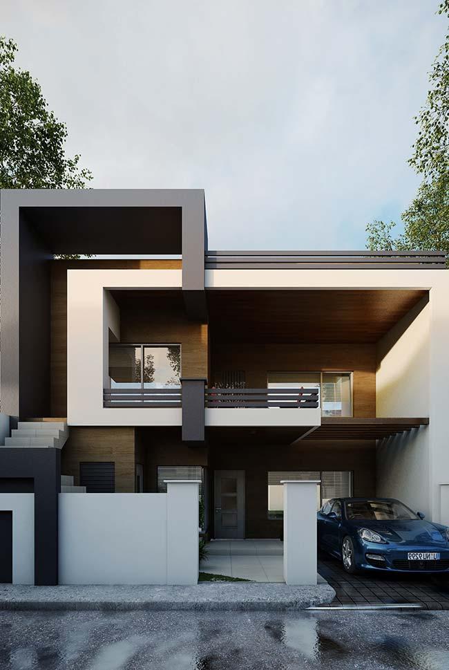 As estruturas metálicas criam volume e forma para essa fachada; nas paredes, madeira