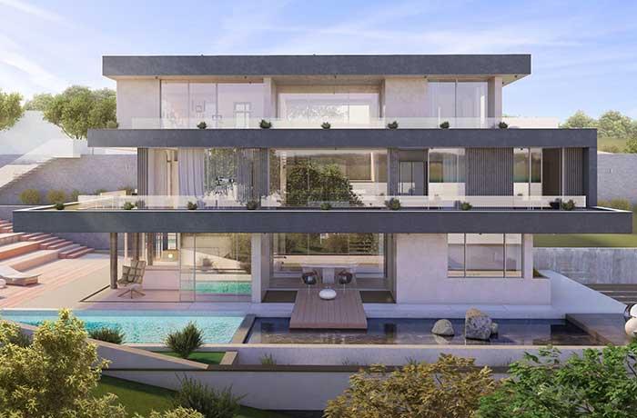 Casa de três pavimentos com uma fachada harmoniosa em todos os níveis