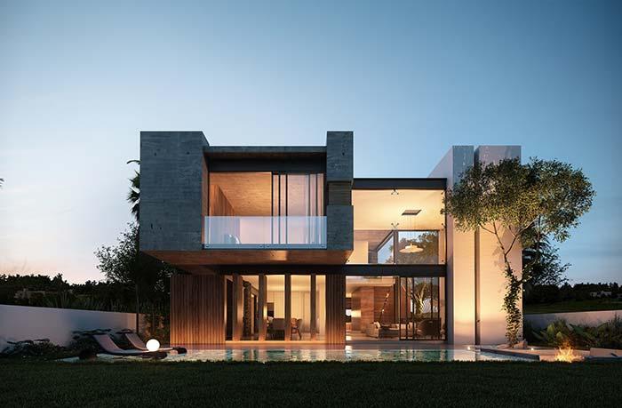 A iluminação externa valoriza a fachada de casa durante a noite