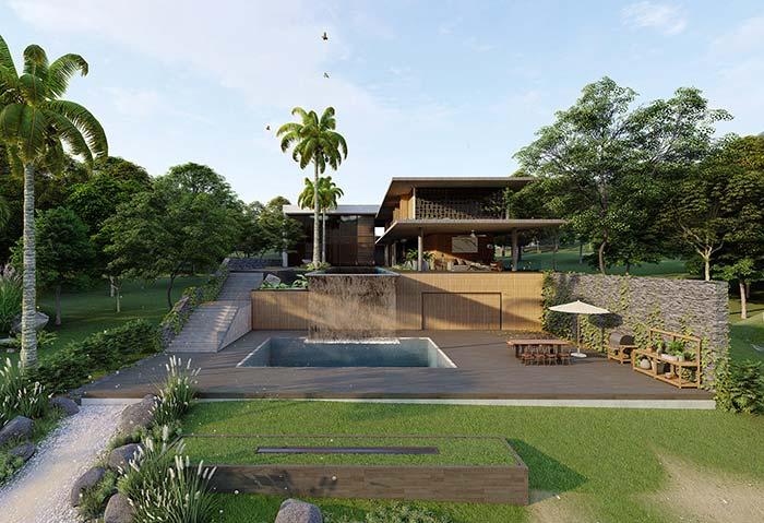 Para uma casa de campo use sem medo elementos naturais como madeira e pedra na fachada