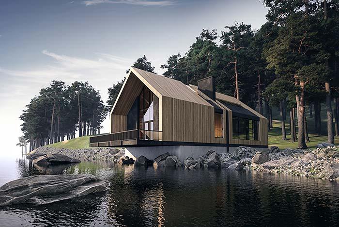 E para a casa no lago, a madeira vai muito bem também