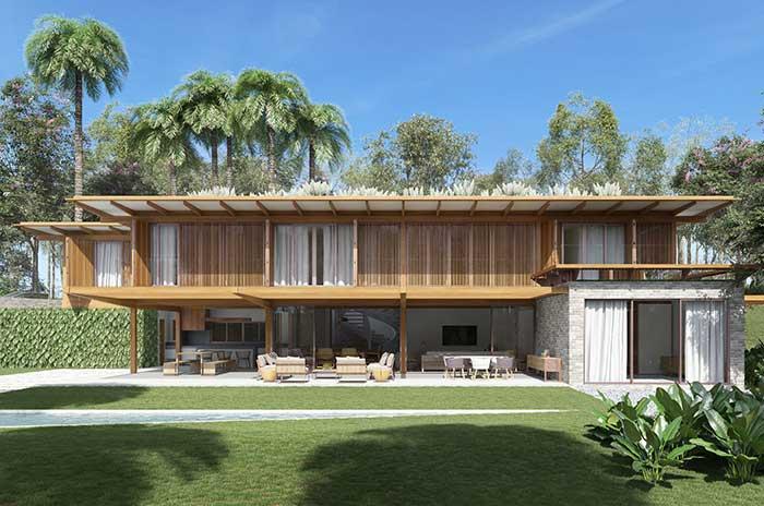 Uma fachada de casa praiana para a casa de campo
