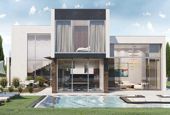 Quando a fachada é de vidro, a parte interna se mescla com a área externa