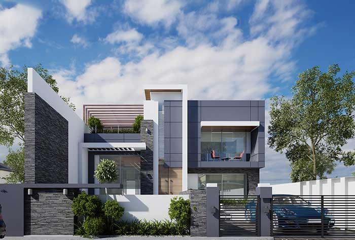Nessa fachada, o cinza cria detalhes e volumes, enquanto o branco fica na base