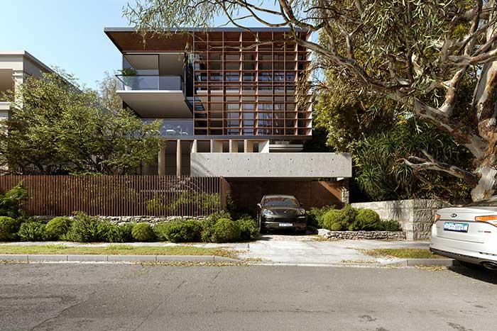 Uma solução diferenciada e original para a fachada: quadrados de madeira